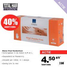 Abena Handschoenen Vinyl Poedervrij 100st. 5 stuks Aktie